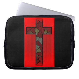 Cruz roja coloreada del resplandor mangas computadora