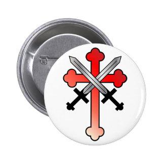 Cruz Roja con las espadas cruzadas Pin Redondo 5 Cm