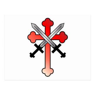 Cruz Roja con las espadas cruzadas Tarjeta Postal