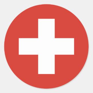 Cruz Roja de la bandera suiza Pegatina Redonda