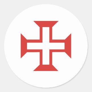 Cruz roja de Templar Etiquetas Redondas