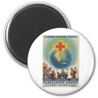 Cruz Roja griega de Grecia del anuncio viejo Imán Redondo 5 Cm