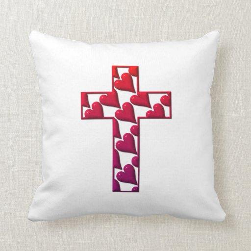 Cruz Roja llenada de los corazones Cojines