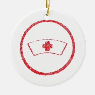 cruz roja médica de la enfermera del ER del Adorno Redondo De Cerámica