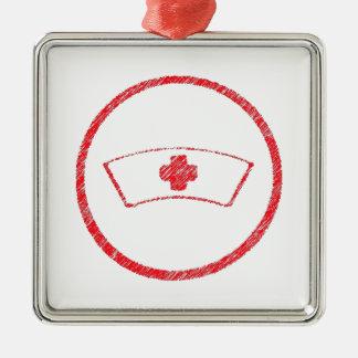 cruz roja médica de la enfermera del ER del Adorno Cuadrado Plateado