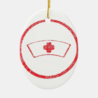 cruz roja médica de la enfermera del ER del Adorno Ovalado De Cerámica