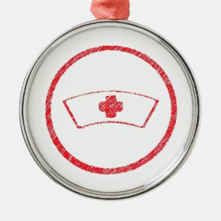 cruz roja médica de la enfermera del ER del Adorno Redondo Plateado