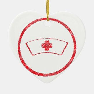 cruz roja médica de la enfermera del ER del Adorno De Cerámica En Forma De Corazón