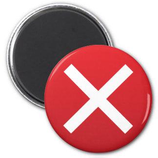 Cruz Roja ningún símbolo incorrecto de X Imán Redondo 5 Cm