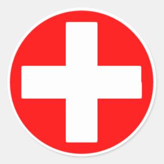 Cruz Roja Pegatina Redonda