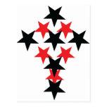 cruz rojo-negra de la estrella tarjetas postales