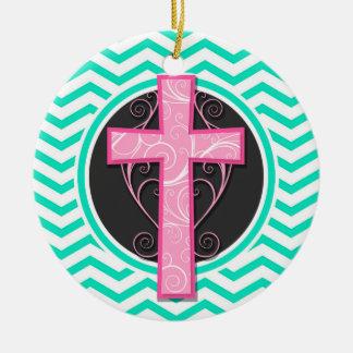 Cruz rosada Aguamarina Chevron verde Ornamento Para Arbol De Navidad
