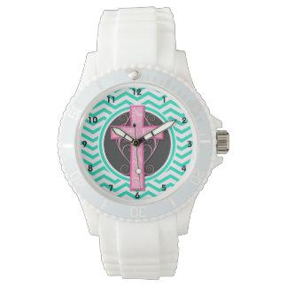 Cruz rosada; Aguamarina Chevron verde Reloj