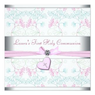 """Cruz rosada blanca primer Commun del corazón Invitación 5.25"""" X 5.25"""""""