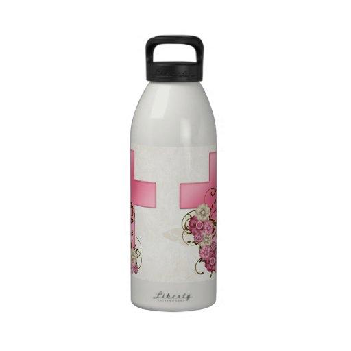 Cruz rosada bonita con el cristiano D1 de las flor Botella De Agua Reutilizable