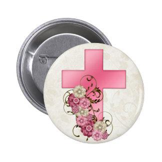 Cruz rosada bonita con el cristiano D1 de las flor Pin Redondo 5 Cm