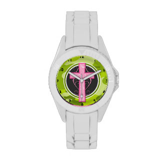 Cruz rosada; camo verde claro, camuflaje reloj de mano