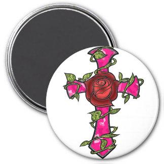 Cruz rosada de Camo Imán Para Frigorífico