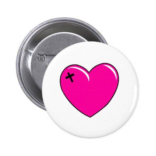 Cruz rosada del amor pin