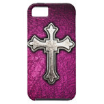 Cruz rosada iPhone 5 funda