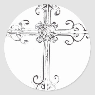 cruz rugosa pegatina redonda