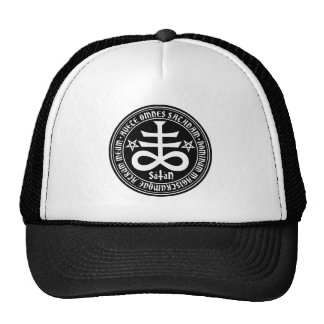 Cruz satánica con el texto y los Pentagrams de Gorro