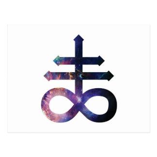 Cruz satánica cósmica postal