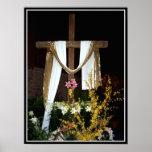 Cruz vacía de Pascua de la resurrección de Jesús Posters