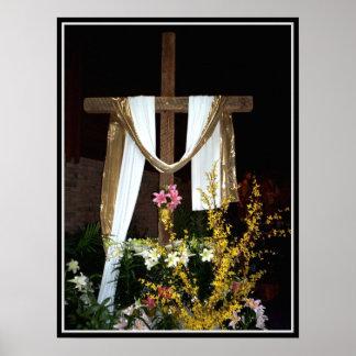 Cruz vacía de Pascua de la resurrección de Jesús Póster