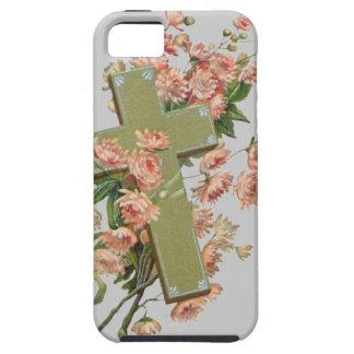 Cruz verde con las flores rosadas iPhone 5 fundas
