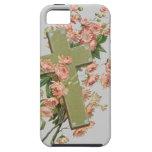 Cruz verde con las flores rosadas iPhone 5 carcasa