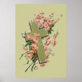 Cruz verde con las flores rosadas poster