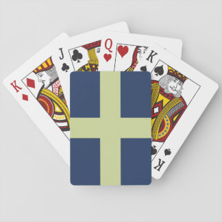 Cruz verde en azul barajas de cartas