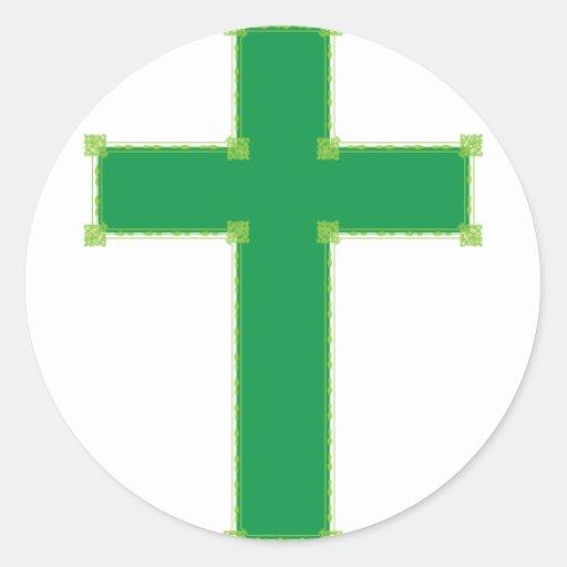 Cruz verde pegatina redonda