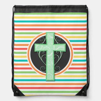 Cruz verde; Rayas brillantes del arco iris Mochila