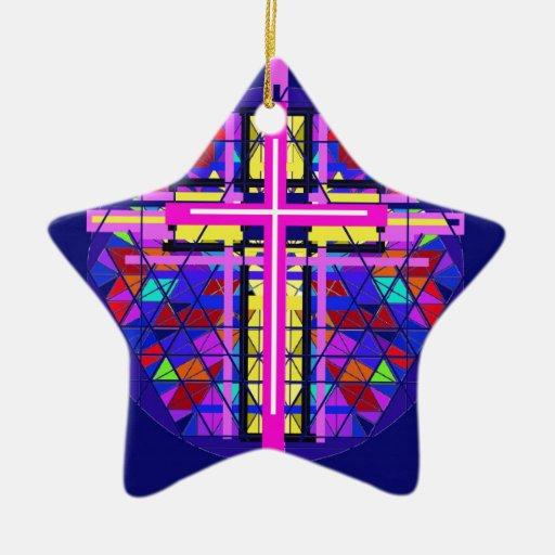 Cruz vibrante del cristiano del vitral adorno navideño de cerámica en forma de estrella