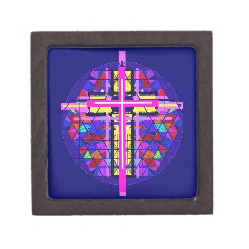 Cruz vibrante del cristiano del vitral caja de recuerdo de calidad