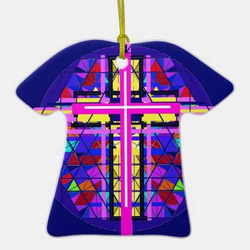 Cruz vibrante del cristiano del vitral ornamentos de navidad