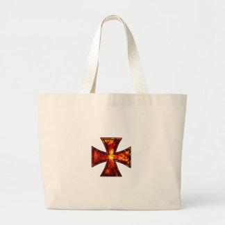 Cruz volcánica del hierro bolsa lienzo