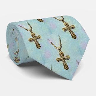 Cruz y cadena adornadas del oro corbatas