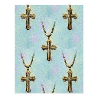 Cruz y cadena adornadas del oro membrete personalizado