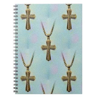 Cruz y cadena adornadas del oro note book