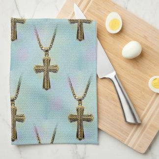 Cruz y cadena adornadas del oro toalla de mano