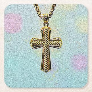Cruz y cadena adornadas del oro posavasos desechable cuadrado