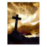 Cruz y cielo postal