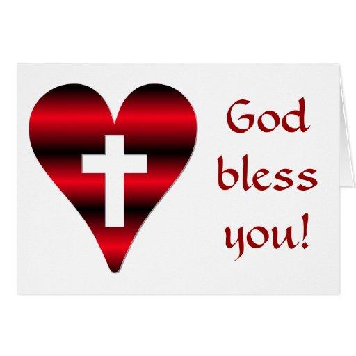 Cruz y corazón #3 (cruz dentro del corazón rojo) felicitacion