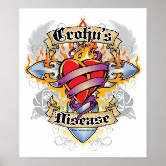 Cruz y corazón de la enfermedad de Crohns Posters