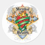 Cruz y corazón de la salud mental pegatinas redondas