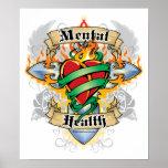 Cruz y corazón de la salud mental poster