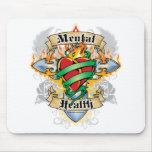 Cruz y corazón de la salud mental tapete de raton